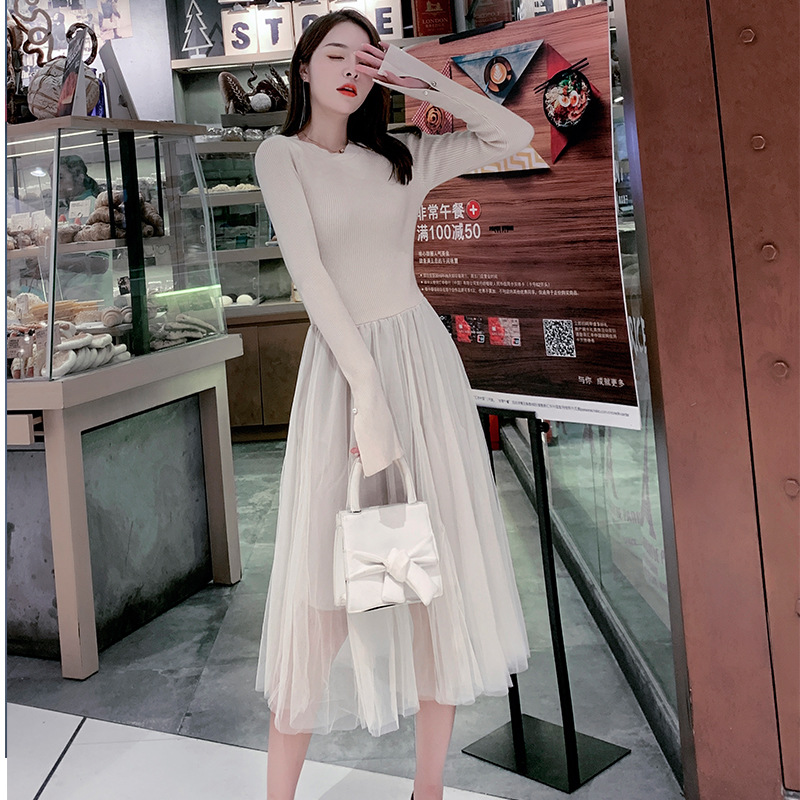 2019 Autumn New Style Sue Flow French Vintage Knit Joint Gauze Skirt Waist Hugging Slimming Mid-length Sweater Women's
