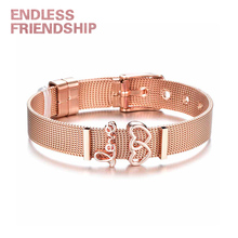 все цены на Endless Friendship Fashion Lady Stainless Steel Mesh Bracelet Set LOVE Double Heart Charm Bracelet Bangle For Woman Jewelry Gift
