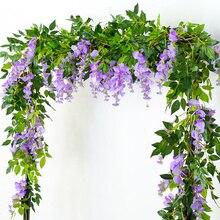 Глицинии искусственный цветок лозы венок свадебная арка, украшение поддельные завод листья ротанга трейлинг искусственный цветок плющ wall200cm
