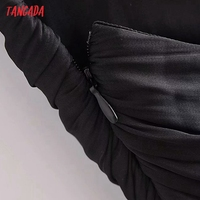 Tangada Women's Party Dress Fashion Black Pleated Dresses Backless Female Long Dress 3H793 5