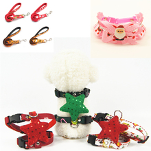 Christmas Pet Anti-Explosion Bow Knot Chest Harness Soft Collar traction rope Cloth Small Medium Dog Party Supplies