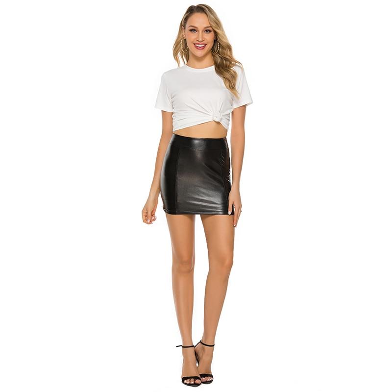 Lady PU Leather Skinny Skirt High Waist Pencil Tight Body Split Mini Skirt Black Skirt Slim Sexy Women's Clothing