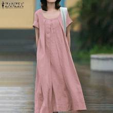 ZANZEA 2020 Women's Summer Loose Dress Casual Half Sleeve Dress Elegant Pockets Sundress 2020 Cotton Lien Femme Vestidos M-5XL(China)