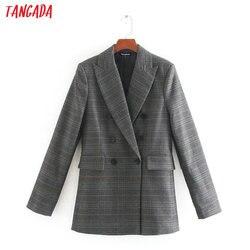 Женский винтажный клетчатый Блейзер Tangada, элегантный пиджак с длинным рукавом, деловой пиджак, CE111, 2020