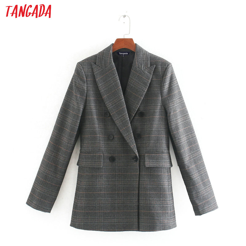 Tangada 2020 Fashion Women Vintage Plaid Blazer Female Long Sleeve Elegant Jacket Ladies Elegant Blazer Formal Suits CE111