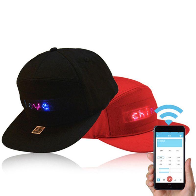 Unisex Bluetooth LED Mobile Phone APP Controlled Baseball Hat Scroll Message Display Board Hip Hop Street Snapback Cap