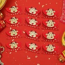 12 pçs chinês ano novo pacote vermelho bronzeamento envelope sorte vermelho 3d dos desenhos animados padrão de boi para 2021 primavera festival presentes de casamento