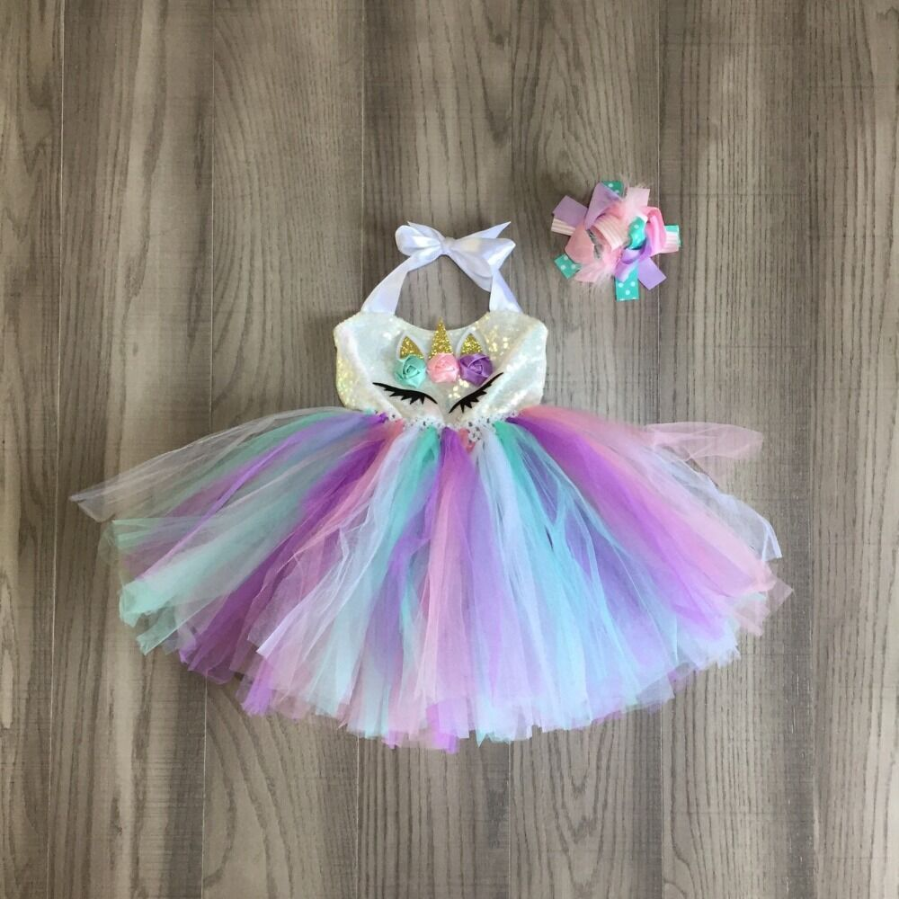 Baby Girls Clothes Girls Summer Dress Girls  Unicorn Gauzy Skirt Girls Lavender Dress With Bow