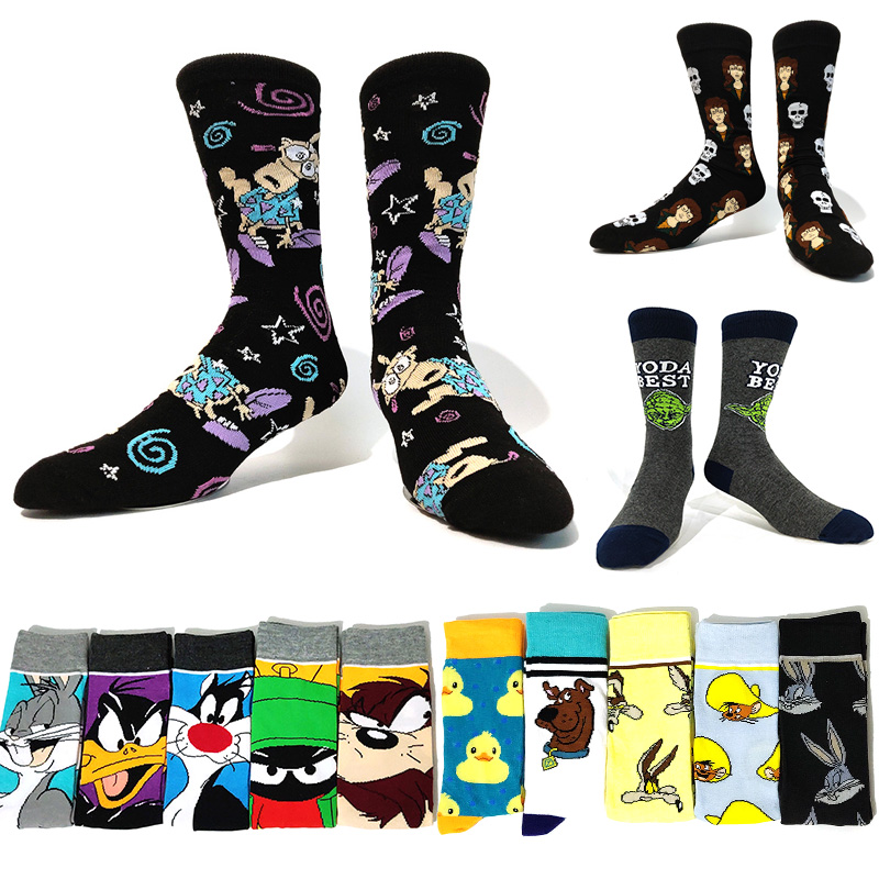5 Pairs/Pack Men's Cartoon Rabbit Happy Socks Men Funny Socks Duck Anime Socks Fashion Skarpety Hip-Hop Personality Big Size