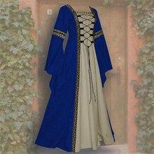 Vintage Celtic Medieval Floor Length Dress Women Renaissance Gothic Cosplay Flare Sleeve Square Collar Party Vestido