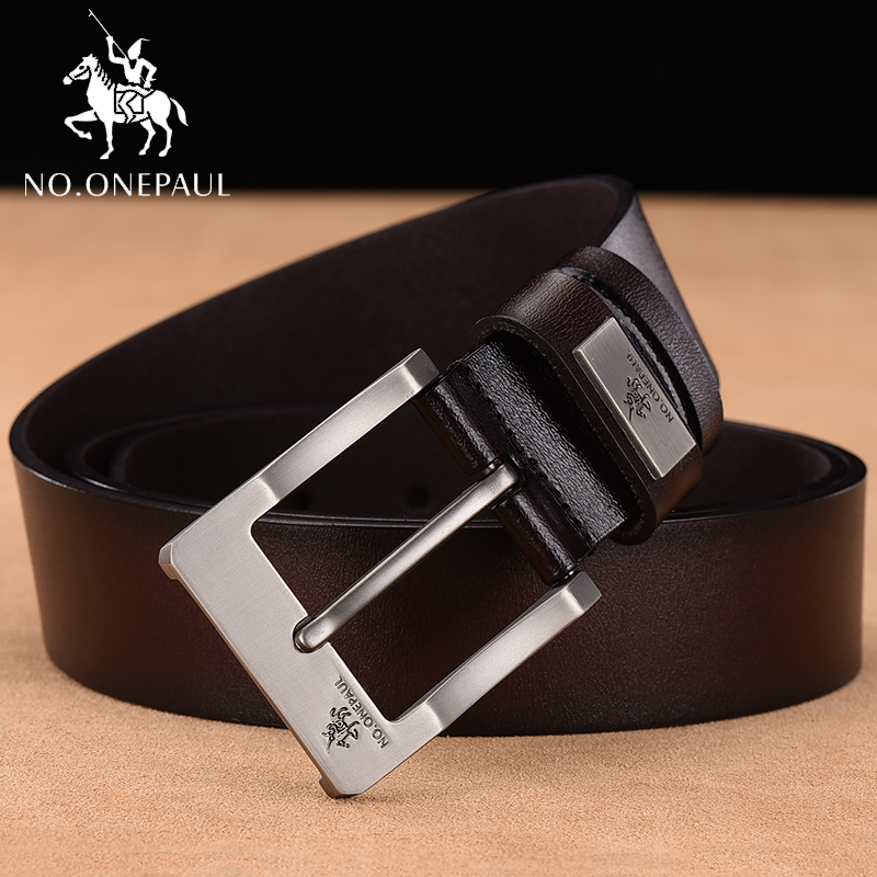 Image 2 - NO.ONEPAUL cow genuine leather luxury strap male belts for men new fashion classice vintage pin buckle men belt High Quality-in Men's Belts from Apparel Accessories