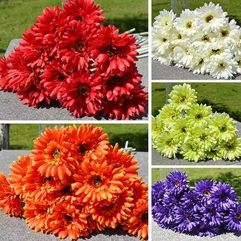 1 Pc Artificial Silk Gerbera Daisys Flower Wedding Party Bouquet Home Garden Decor for Stages Living Room Parks Offices Stores image