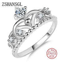 Fashion 925 Silver filled Zircon Princess Crown Finger Ring Classic Stackable Jewelry For Women Wedding Rings Christmas Gift