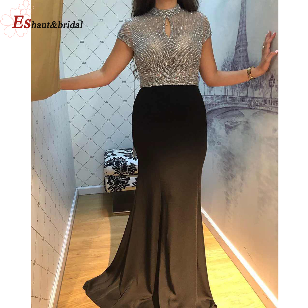 Luxury Crystal Handmade Black Evening Dress For Women 2019 High Neck Short Sleeves Elastic Satin Long Formal Party Gowns
