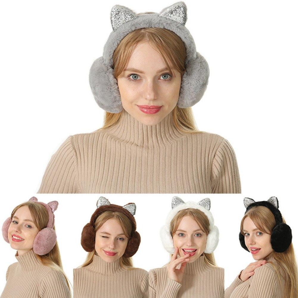 Women Earmuffs Cartoon Cat Ears Windproof Ears Warm Adjustable Earmuffs TS95