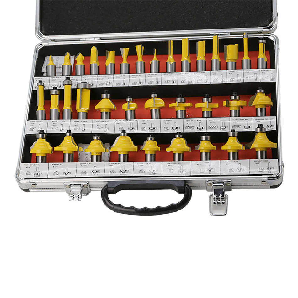 """Heavy 35pcs 1//2/"""" Router Bit Set Tungsten Carbide Woodworking Cutter Rotary Tool"""