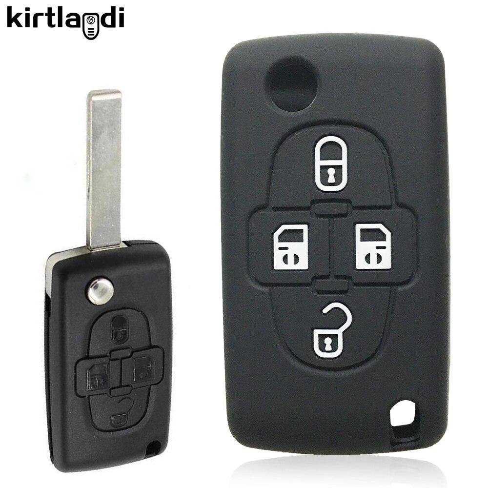 Силиконовый чехол для ключей Kirtlandi с 4 кнопками, чехол-держатель для Peugeot 1007 807 для Citroen C8, аксессуары, автомобильный держатель, чехол для ключе...