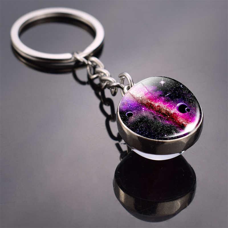 Galáxia chaveiro sistema solar planeta imagem bola de vidro chaveiro galáxia lua pingente chaveiro universo presentes para homem para mulher