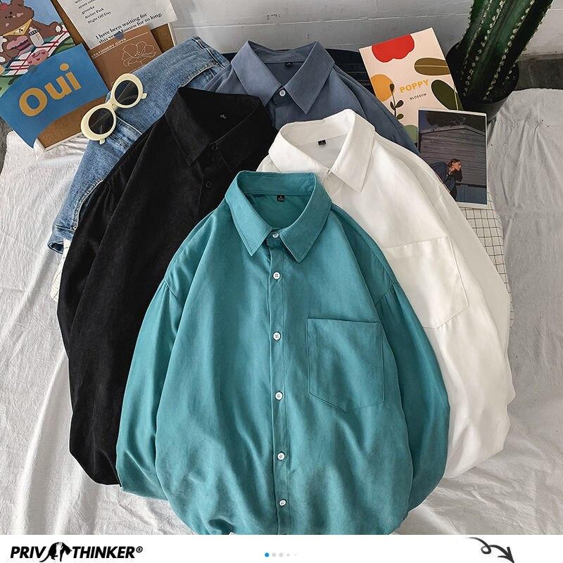 Privathinker Solid Color Oversized Basic Men's Shirts 2020 Harajuku Men Casual Long Sleeve Shirt Tops Streetwear Man Blouse