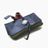 New Lambskin Soft Leather Tobacco Pouch Handmade Portable Large Capacity Pipe Tobacco Storage Bag Holder Smoking Cigarette Case