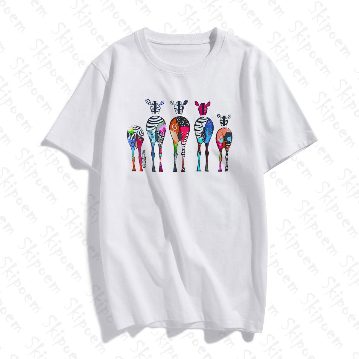 Abstract Art Colored Zebra T Shirt Women Tumblr Gothic Korean Style Harajuku Plus Size Cotton Short Sleeve Top Tees Streetwear