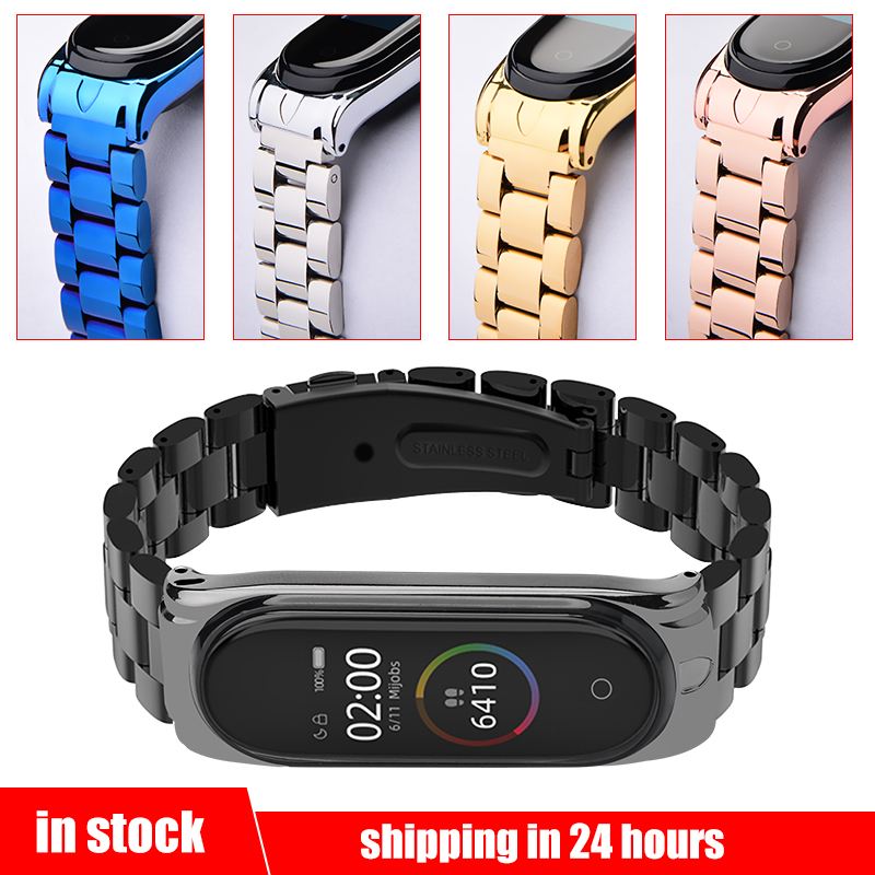Mi Band 4 Wrist Strap Stainless Steel Metal Straps For Xiaomi Mi Band 4 Bracelet Strap Mi Band 4 Leather Metal Protector Straps