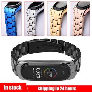 Image 1 - Mi Band 4 Wrist Strap Stainless Steel Metal Straps For Xiaomi Mi Band 4 Bracelet Strap Mi Band 4 Leather/Metal Protector Straps