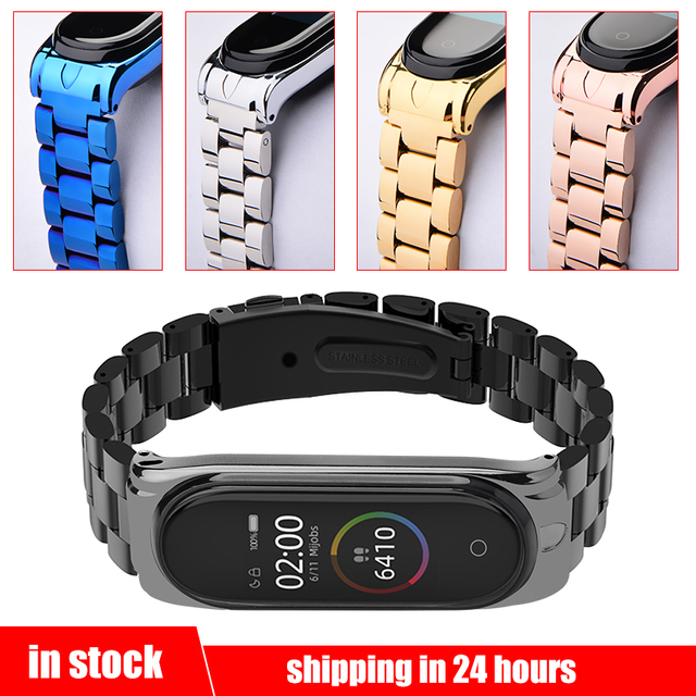 Mi Band 4 Wrist Strap Stainless Steel Metal Straps For Xiaomi Mi Band 4 Bracelet Strap Mi Band 4 Leather/Metal Protector Straps
