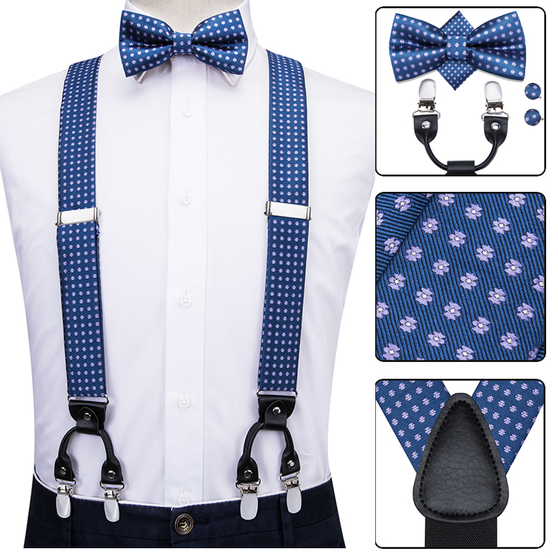 Hi-Tie Silk Adult Men Suspenders Set Leather Metal 6 Clips Braces Blue Dots Vintage Mens Women Wedding Elastic Suspensorio