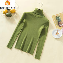 Turtleneck Women Knit Pure Soft Cashmere Sweater Long Sleeve Solid Pullover Slim Top Autumn Winter Basic Sweaters Ladies Jumper(China)