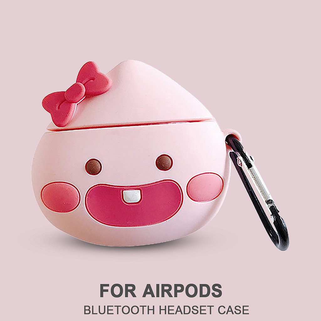 Cute Cartoon Wireless Earphone Case  Silicone Anti-lost Protective Cover Skin Case For Apple AirPods Charging Box With Hooks #BO