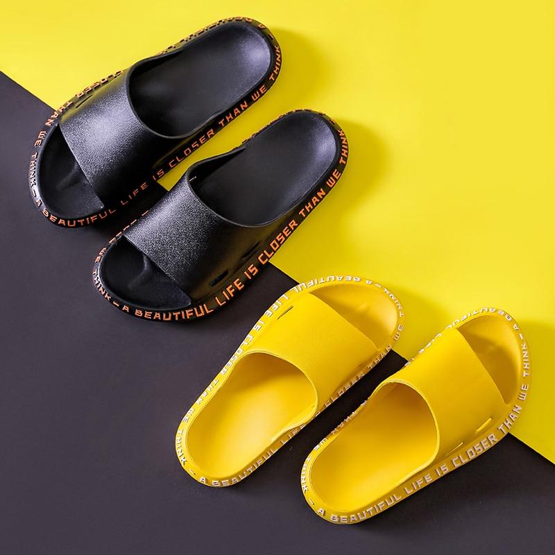 Women Summer Slippers Slide Sandals Beach Slides Cartoon Words Flip Flops Non-slip Soft Sole Women Men Lovers Slides Shoes