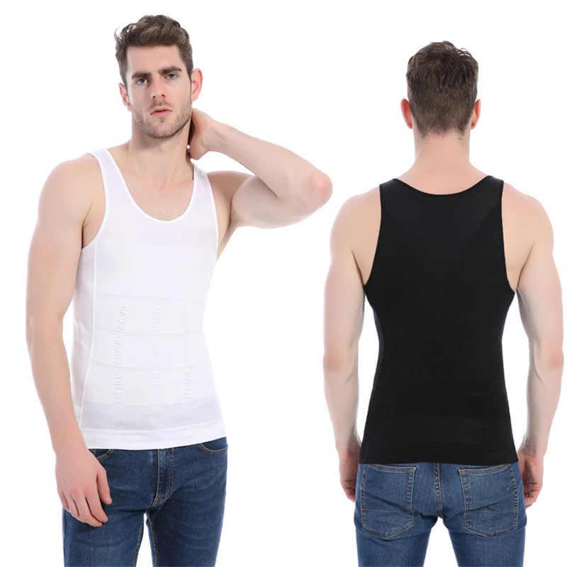 2019 Мужская утягивающая живот одежда сжигание жира жилет моделирующее нижнее белье корсет талия тренажер мышечная рубашка с поясом