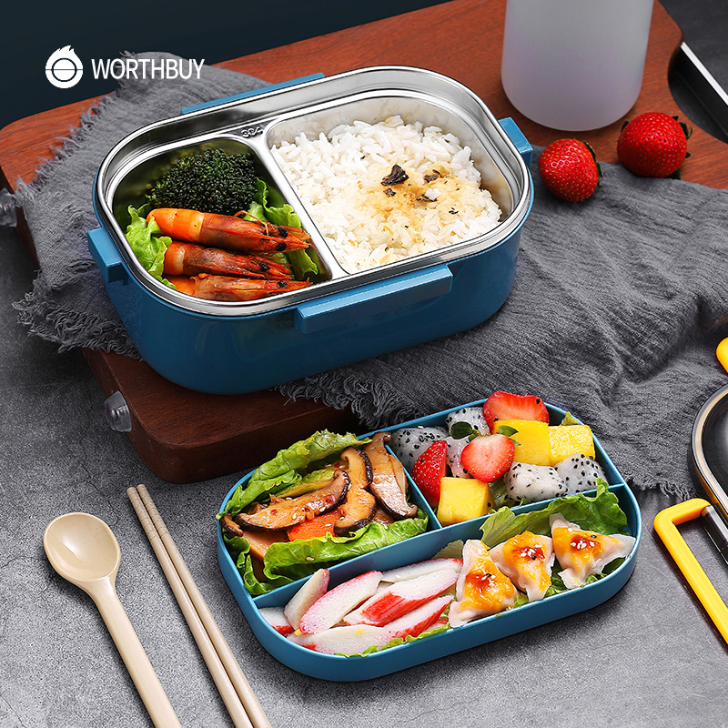 WORTHBUY Japanese 18/8 Stainless Steel Lunch Box For Kids School Leak-Proof Bento Box With Compartment Food Container Storage