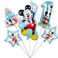 1 комплект, Звездные гелиевые фольгированные шары Микки и Минни Маус, украшения для детского дня рождения, детский душ, игрушки с номером 1-го...