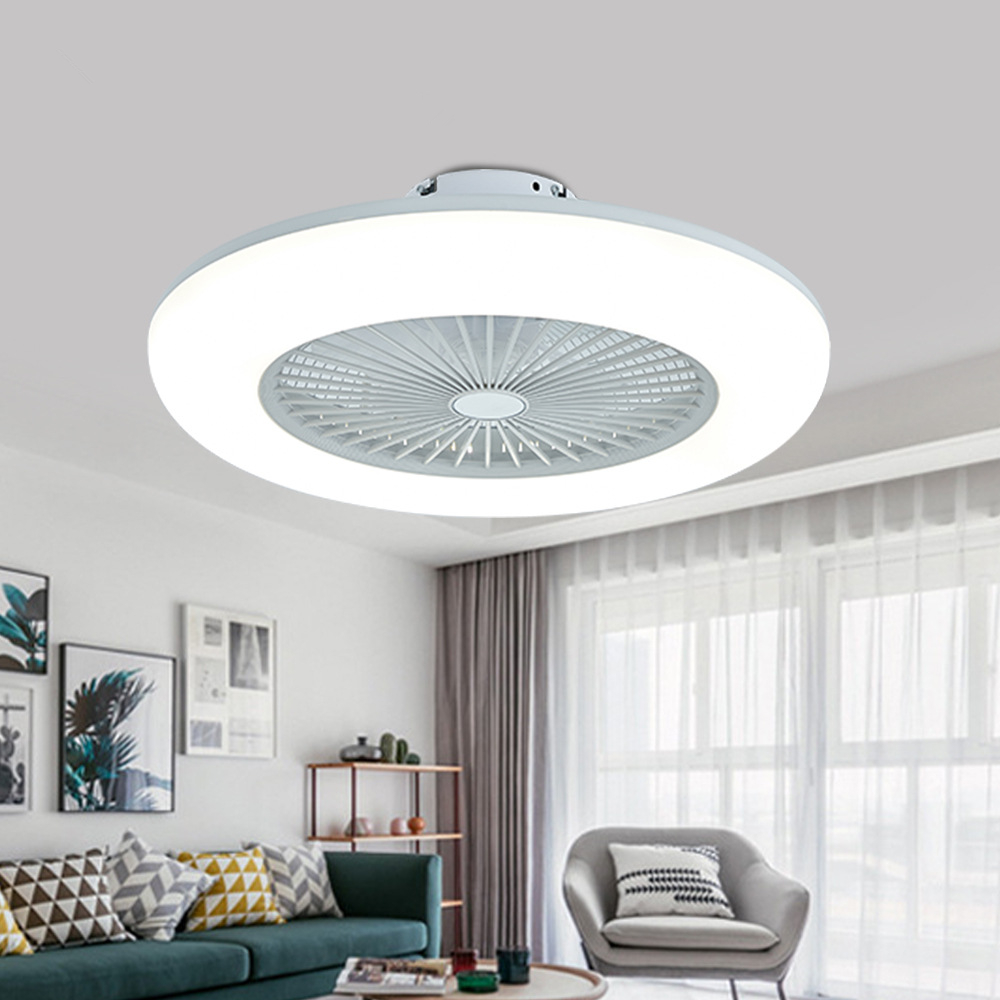 Modern Nordic Minimalist Ceiling Fan Light Acrylic Panel Led Smart Mute Dimming Ac 220v Factory Office Living Room Dimmer