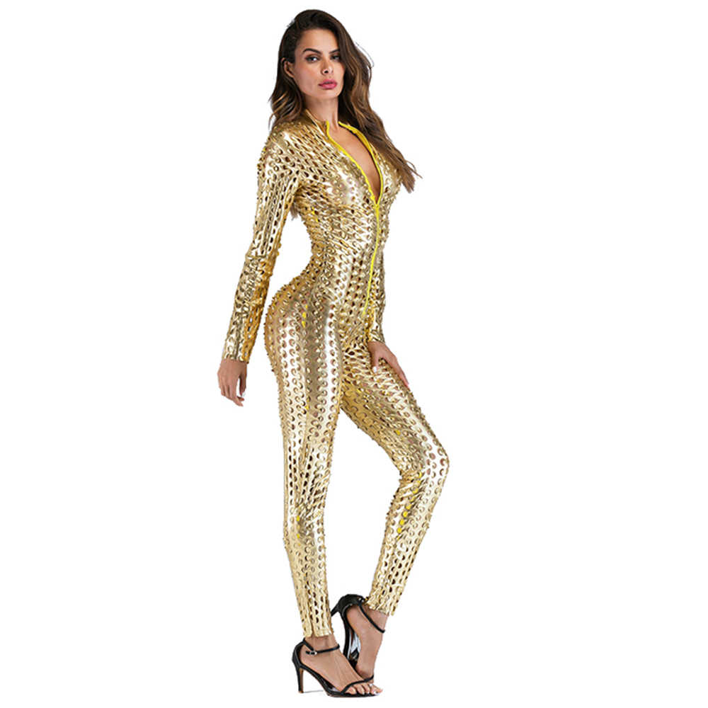 Wetlook Catsuit PU Faux หนัง Jumpsuit Zentai เครื่องแต่งกายผู้หญิงด้านหน้า Zipper Hollow OUT Hole POLE Dance ไนท์คลับไวนิล Bodysuit