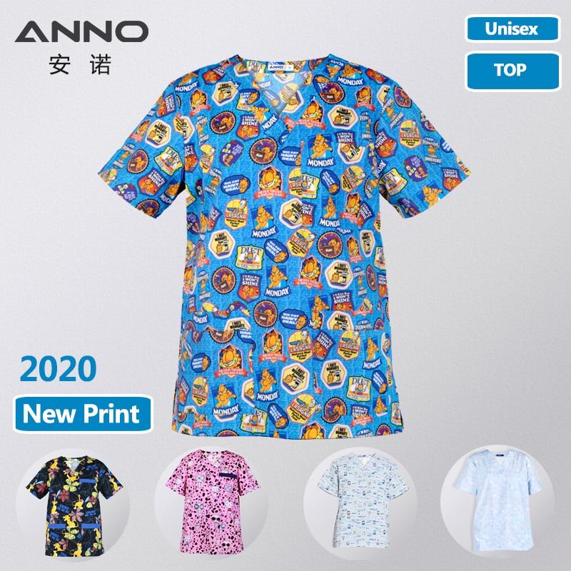 ANNO New Print Medical Scrubs Women Men Hospital Clothing Tops In Cotton Nursing Uniforms Beautu Salon Dental Work Shirt