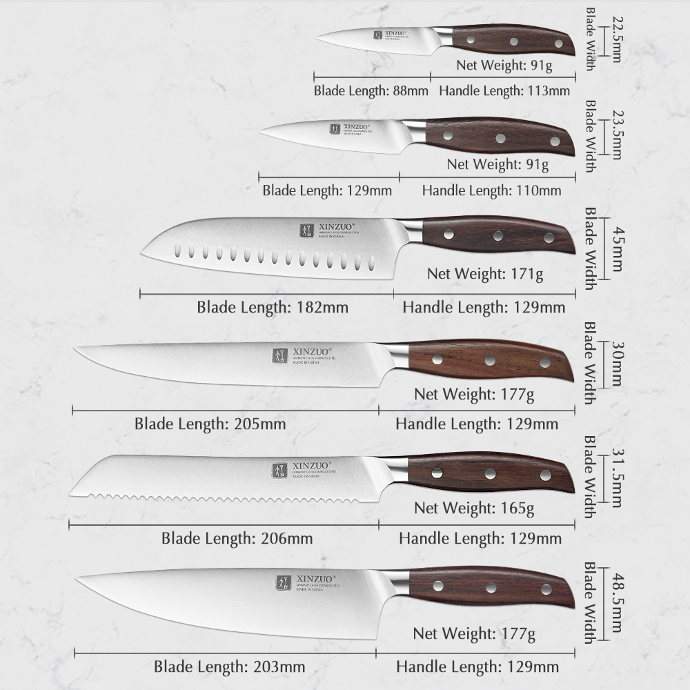 XINZUO Kitchen Tools 6 PCS Kitchen Knife Set of Utility Cleaver Chef Bread Knife High Carbon German Stainless Steel Knives sets 2