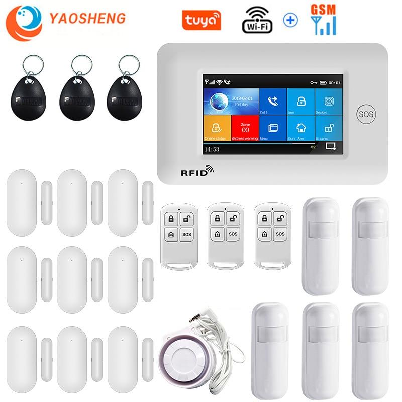 4.3 Polegada painel de toque wi fi gsm sem fio do assaltante sistema alarme segurança em casa tuya vida inteligente controle app compatível com alexa