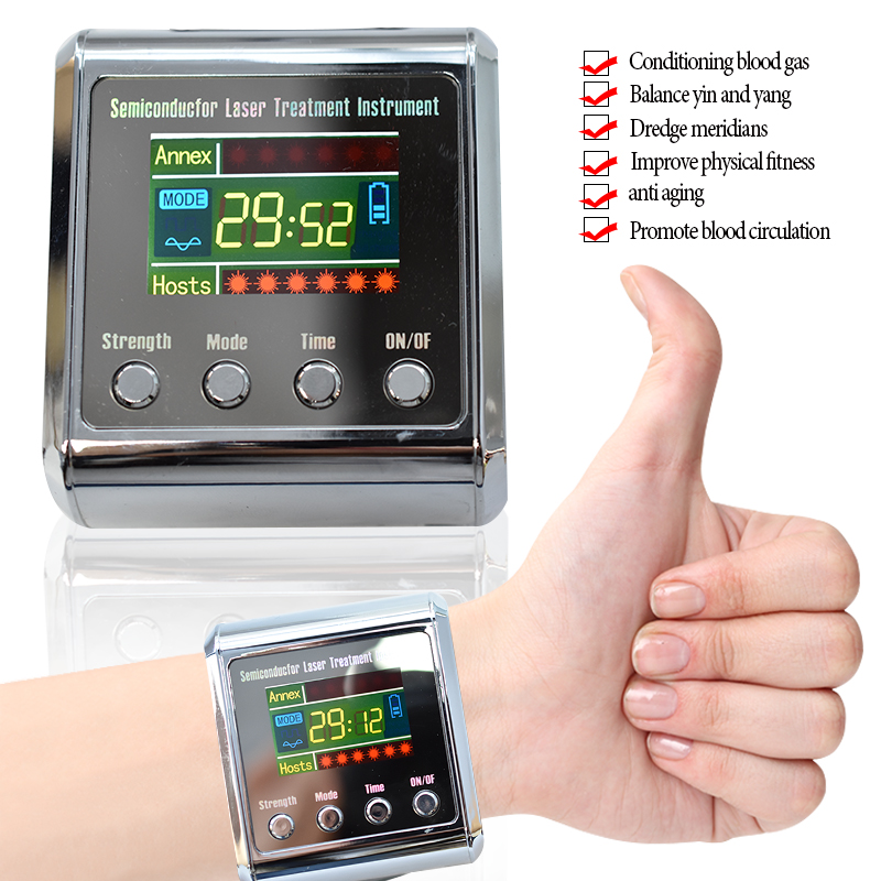 Digital 650nm Laser Physiotherapy Wrist Apparatus LLLT To Treat Cholesterol Hypertension Cerebral Diabetes Rhinitis Thrombosis