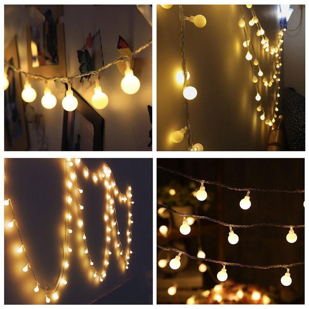 EU/US Plug Cherry Balls LED Fairy String Lights Battery 220V 110V Operated Wedding Christmas Outdoor Room Garland Decoration