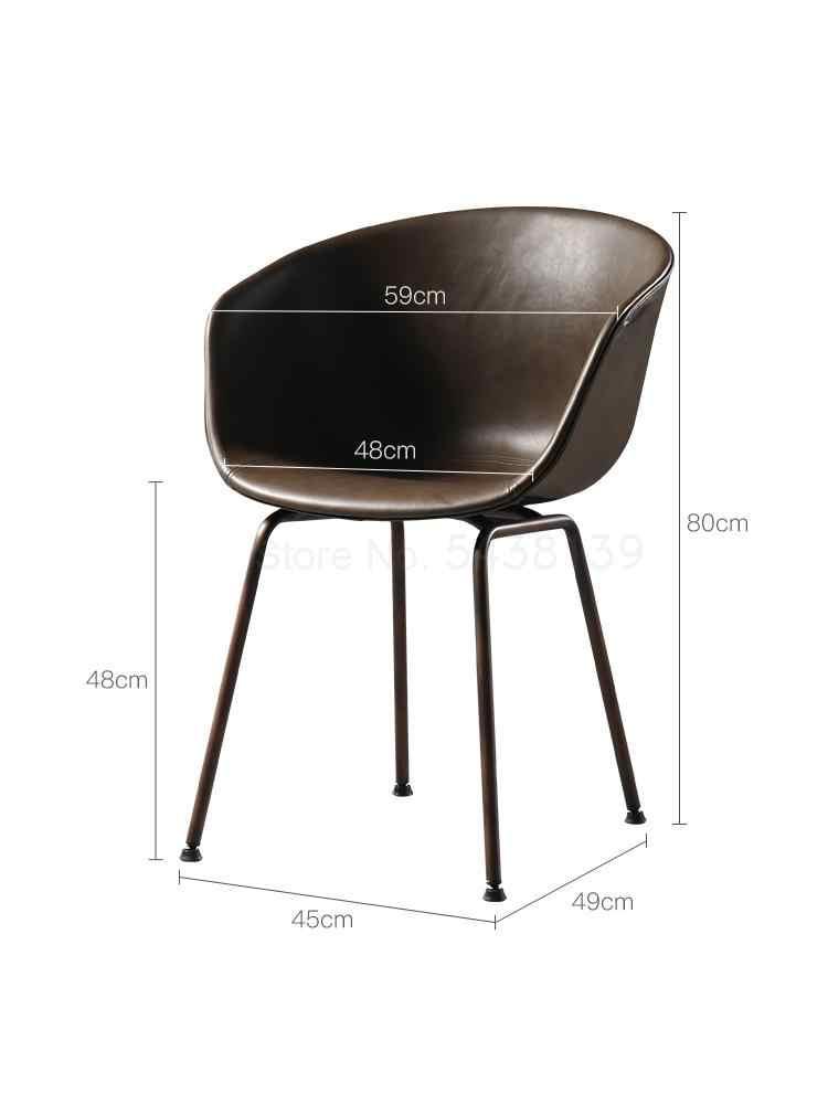 Silla trasera de cuero nórdico Simple de América del Norte nueva silla ligera de lujo Silla de café Retro de hierro europeo Silla de restaurante