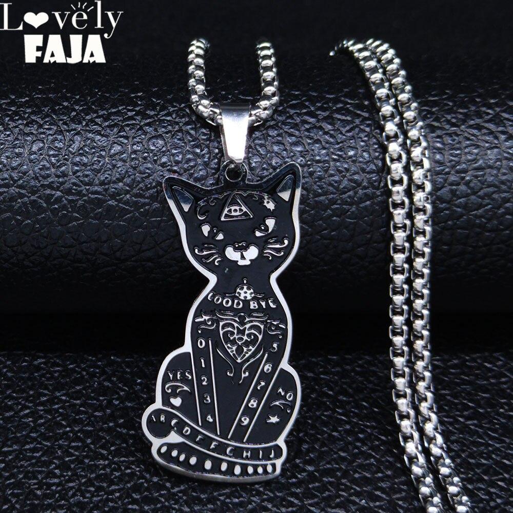 AFAWA 2020 Stregoneria Pentagram Nero di Colore del Gatto Collane In Acciaio Inox e Pendenti Con Gemme E Perle Uomini/Donne per Le Donne Dei Monili joyas N3314S02