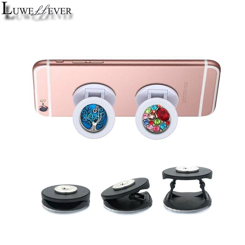 Fashion Phone Folding Stand Finger 018 Fit 18mm Snap Button Mobile Secure Grip Support Bracket Adjustable Desktop Holder