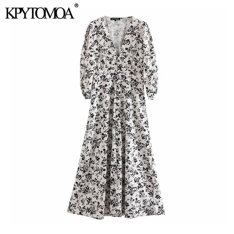 KPYTOMOA Women 2020 Elegant Fashion Floral Print Midi Dress Vintage V Neck Half Sleeve Female Dresses Casual Vestidos Mujer