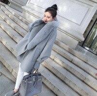 2019 Woolen coat women Korean version of the autumn cardigan caot shirt gray large fur collar winter elegant woolen windbreaker