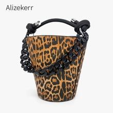 Leopard Print Acryl Kette Eimer Tasche Frauen Koreanische Persönlichkeit Schwarz Geldbörse Und Handtasche Damen Casual Schulter Tasche Chic Mode