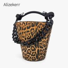 Leopard Print Acrylic Chain Bucket Bag Women Korean Personality Black Purse And Handbag Ladies Casual Shoulder Bag Chic Fashion