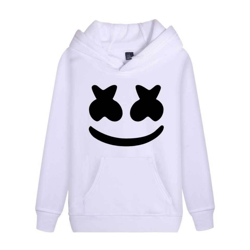 Litthing Sweatshirts Pullovers Hoodies Marshmallow Modish Hip-Hop Rapper Smile-Print